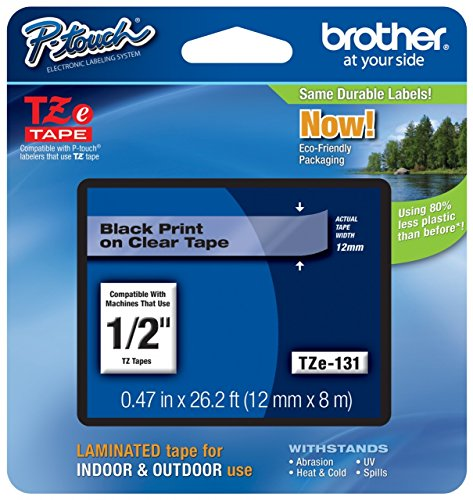 """Genuine Brother 1/2""""  Black on Clear TZe P-touch Tape for Br"""