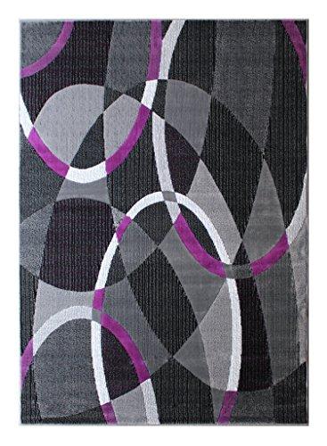 Masada Rugs, Modern Contemporary Area Rug, Purple Grey Black (5 Feet X 7 Feet) (Purple And Area Rugs Black)