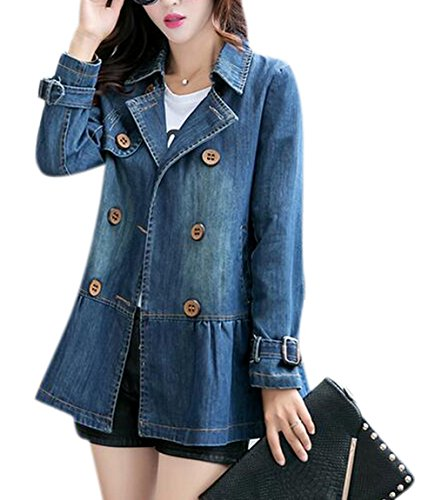 Tengfurich Tengfu Women Elegant Blue Double Breasted Denim Jacket Windbreaker Trench Coat Cropped Double Breasted Peacoat