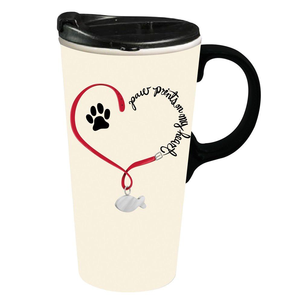 Cypress Home Paw Prints Cat Ceramic Travel Coffee Mug, 17 ounces