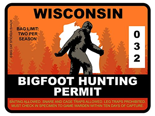 Bigfoot Hunting Permit - WISCONSIN (Bumper Sticker)