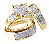 White Natural Diamond Heart Trio Wedding Ring Set In 14K Solid Yellow Gold (0.75 Ct)