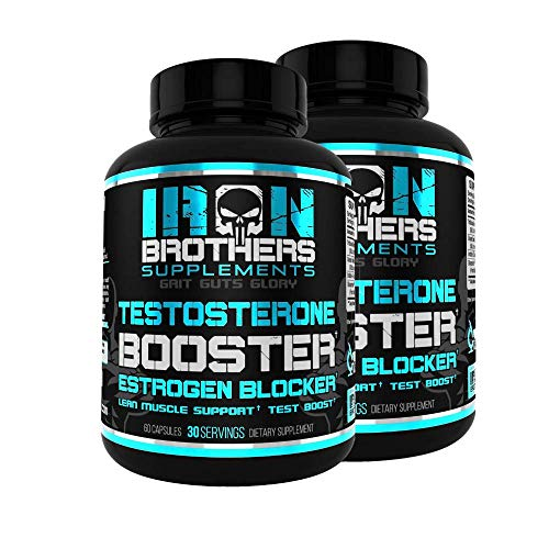 Testosterone Booster for Men with Estrogen Blocker - Anti-Estrogen Dietary Supplement - Natural Aromatase Inhibitor - Increase Libido & Strength 60 Capsules - Muscle Growth - Weight Loss (2 Bottles)
