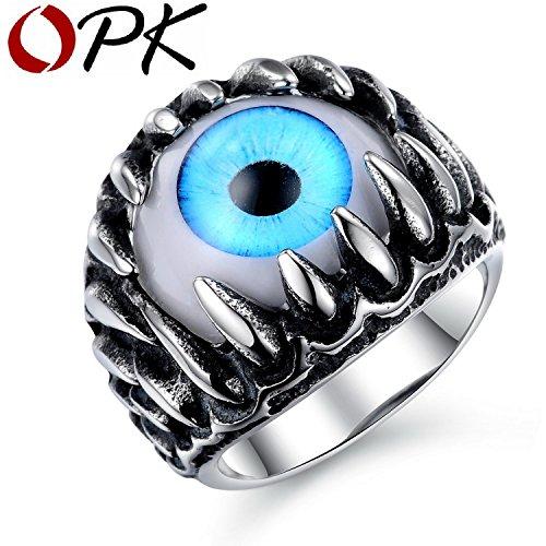 Myn Jewelry Rock Punk Gothic Opal Design Superman Ring Personalized Green/Blue Cat's Eye Vintage Men Finger Jewelry Ornament 431