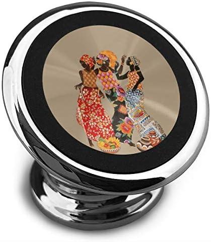 アフリカの女性を踊る 携帯電話ホルダー おしゃれ 車載ホルダー 人気 磁気ホルダー 大きな吸引力 サポートフレーム 落下防止 360度回転