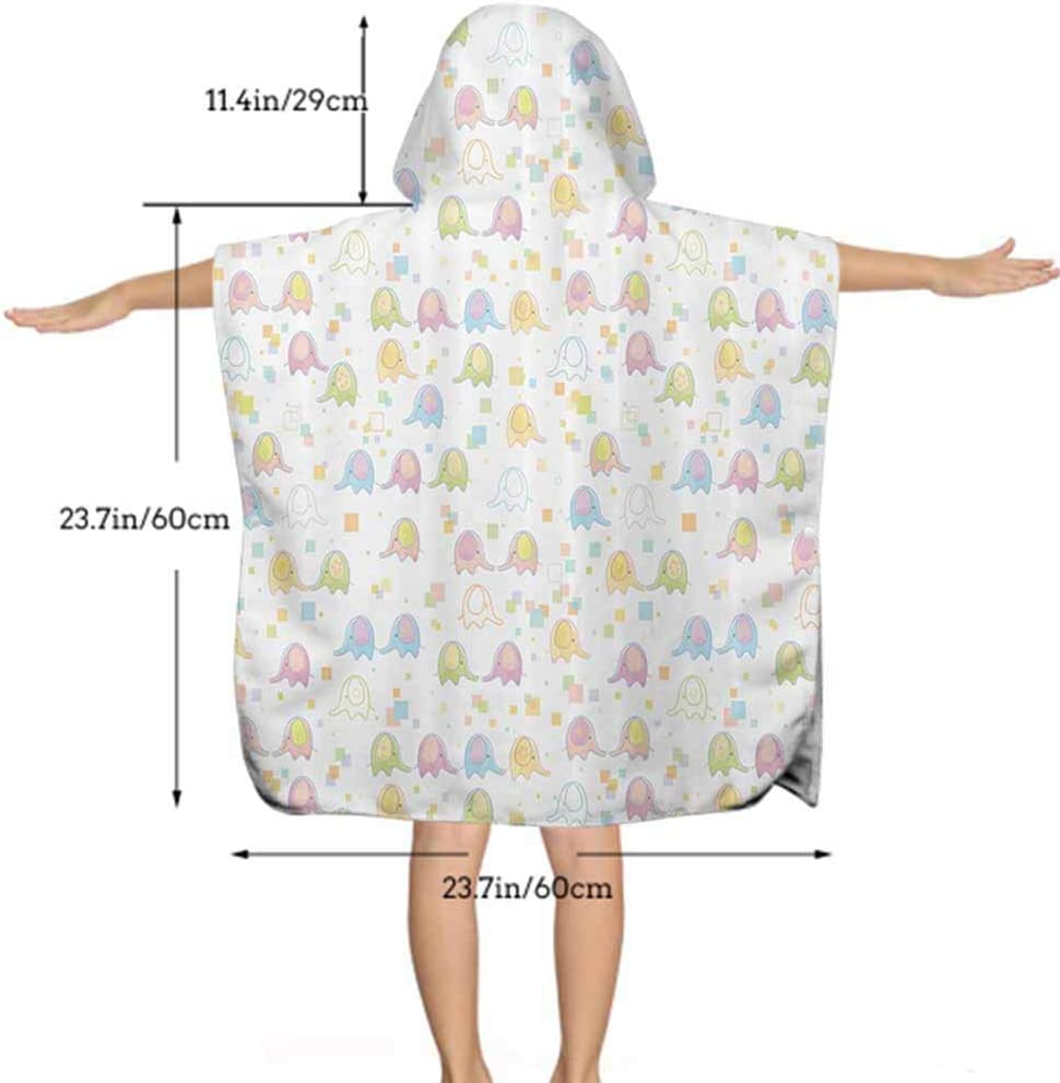 with Hood Hooded Bath Towel for Girls Cute Double Decker Bus Cotton Robe Perfect Beach Cover-up Poncho 23.7W by 47.3L Inches
