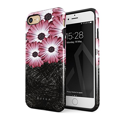 BURGA Phone Case Compatible with iPhone 7 iPhone 8 Case Pink Princess Gerbera Daisy Floral Pattern Heavy Duty Shockproof Dual Layer Hard Shell + Silicone Protective Cover