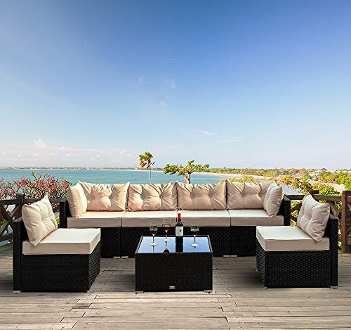 Amolife 7 Pieces Patio PE Rattan Sofa Set Outdoor Sectional Furniture Wicker Chair Conversation Set with Cushions and Tea Table