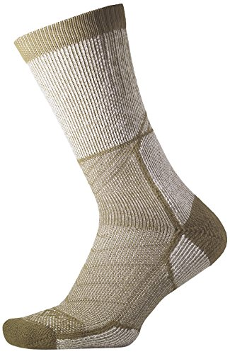 (Thorlos Unisex OEXU Outdoor Explorer Thick Padded Crew Sock, CAMP KHAKI, Medium)