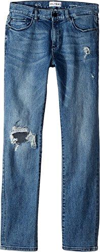 DL1961 Kids Boy's Light Wash Distressed Skinny Jeans in Crater Lake (Big Kids) Crater Lake 16 (Sleek Straight Skinny Jeans)