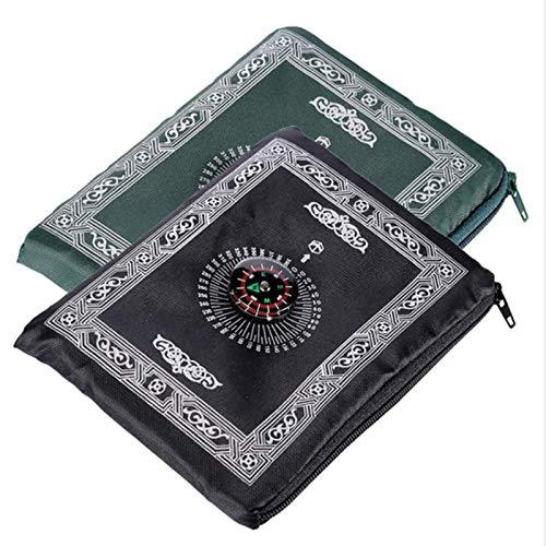 Huai1988 Moslim gebedstapijt, 2 stuks, draagbaar, licht, islamitisch reisgebedskleed met kompas, draagbare islamitische…