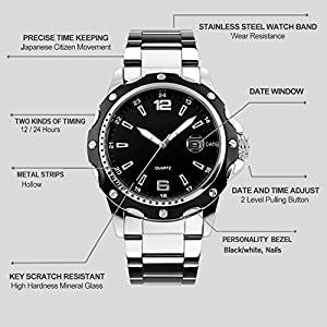 Men's Unique Analog Quartz Waterproof Business Casual Stainless Steel Band Dress Roman Numeral Wrist Watch Classic Design Calendar Date Window Wristwatch (Silver-Black)