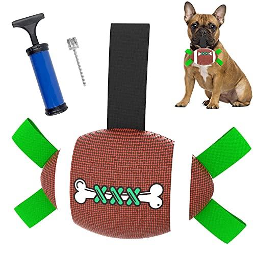 Hundespielzeug Ball, Hundeball 21cm Hund Rugby Spielzeug mit Greiflaschen, interaktives Hundespielzeug mit Ballpumpe…