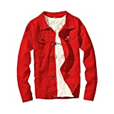 LifeHe 2017 Denim Jacket Men Slim Fit Fashion Jeans Coat (Large, Red)