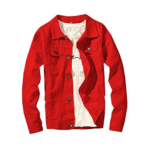 LifeHe 2017 Denim Jacket Men Slim Fit Fashion Jeans Coat (Medium, Red) by LifeHe