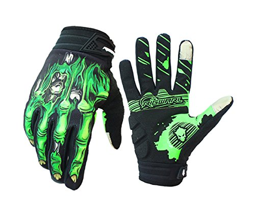 X-CHENG Cycling Gloves - Skeleton Bones Full-Finger - Touch Screen Technology- Shock Absorbing Design - High Quanlity & Stylish - for Riding, hiking, mountain climbing.etc (Green, L (8.3in-8.4in))