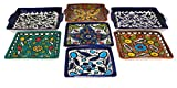 Handmade and Hand Painted Hebron Ceramic Lead Free Microwave Safe Appetizer Plates - 7pcs Bundle - Plates Vary in Size Ranging From (4.2 x 0.9 x 4.2) to (6 x 1.1 x 6)