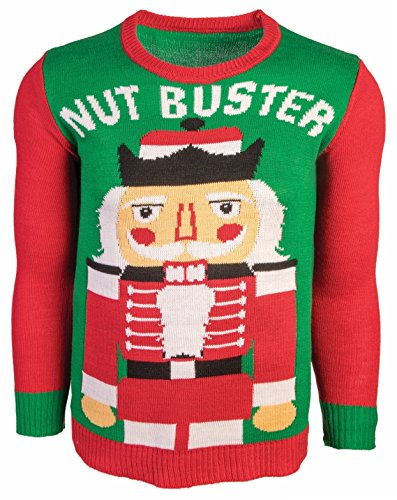 Costumes Ski Forum (Forum Men's Ugly Christmas Sweater, Nut Buster, Red/Green, Large)