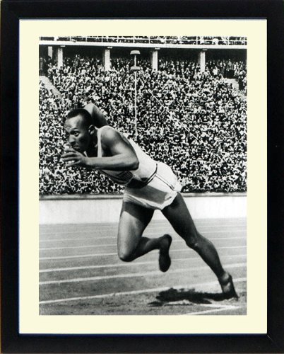 Jesse Owens in Berlin Olympics Framed & Mated Photograph Finest Quality Reproduction.