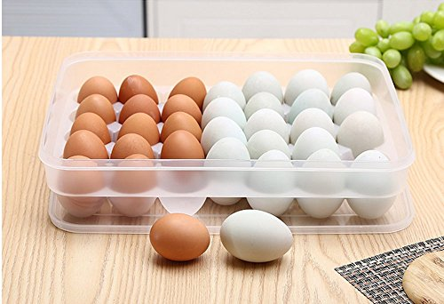 leoyoubei Large capacity Eggs Food Storage Organizer for Kitchen Restaurant Fridge Storage- Stackable Egg Holder with Lid,Clear plastic Decorative Crate (34 lattice egg holder) by leoyoubei