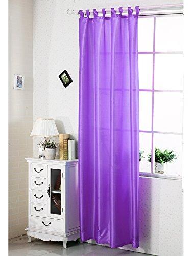 Schlaufenschal halbtransparent , Gardine Vorhang mit Schlaufen , halb transparent , halb blickdicht , Fensterschal Dekoschal Übergardine , Lila , VH5482
