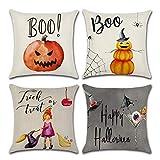 Dreampark Halloween Pillow Covers, (4 PCS) Halloween Decoration Square Cotton Linen Burlap Decorative Throw Pillowslip Cushion Covers Home Decor