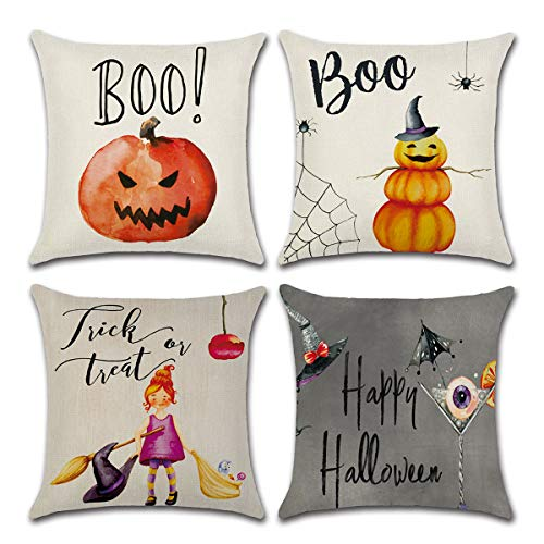 Dreampark Halloween Pillow Covers, (4 PCS) Halloween Decoration Square Cotton Linen Burlap Decorative Throw Pillowslip Cushion Covers Home Decor by Dreampark