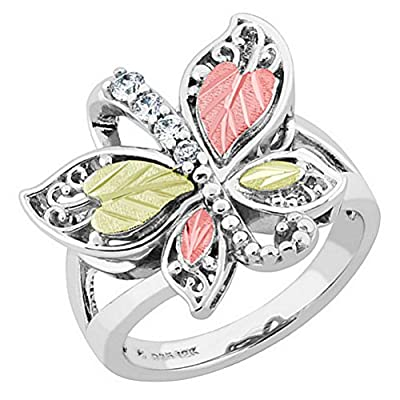Graduated CZ with Scrollwork Butterfly Ring, Sterling Silver, 12k Green and Rose Gold Black Hills Gold Motif, Size 8.5 free shipping