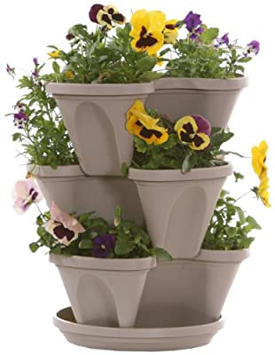 Nancy Janes 12-inch Stacking Planters with Patented Flow through Watering System and Hanging Chain, Set of 3
