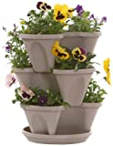 Stone Color 3-Tier Stacking Planter - Vertical Gardening for Herbs, Vegetables, Flowers - Patented Grid System - Best Self Watering Planter - BPA Free