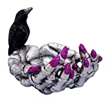 Witch Hand Halloween Candy Dish with Painted Nails and Crow (Silver)