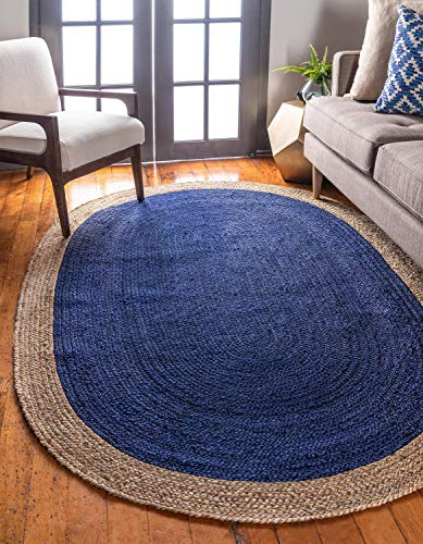 Unique Loom Braided Jute Collection Hand Woven Natural Fibers Navy Blue Oval Rug (8' 0 x 10' 0) (Rugs Area Oval 8x10)