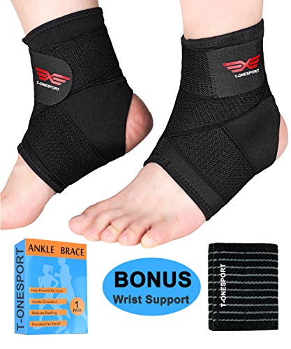 Ankle Brace, 2Pcs Breathable & Strong Ankle Support for Sprained Ankle, Stabiling Ligaments, Prevent Re-Injury, Compression Ankle Brace with Adjustable Wrap (L) ()
