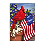 Evergreen Cardinal Glory Suede Garden Flag