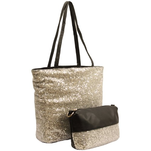 TAINI 2 in 1 Reversible Silver Sequined Evening Shoulder Bag Shopper Tote Hobo Satchel Handbag Purse, Bags Central