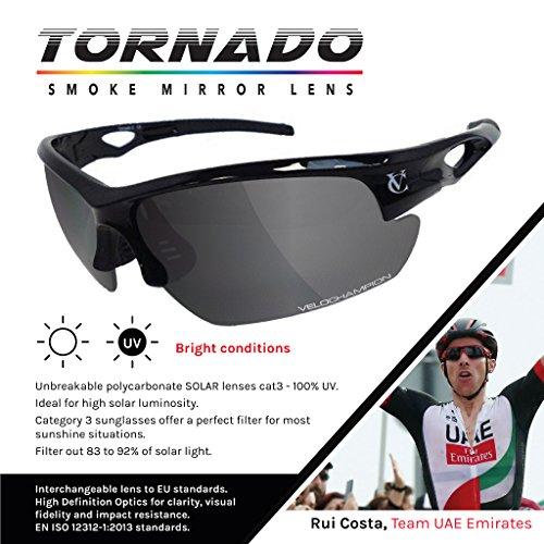 Noire Tornado soleil interchangeables de 3 Sunglasses verres Lunettes paires de Black Avec VeloChampion cyclisme PxwCnB