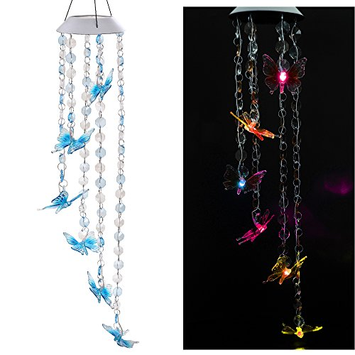 Cheap Solar Mobile Bead Wind Chime, Color Changing LED Solar Wind Chime Solar Powered LED Hanging Lamp Wind Chime Light Wind Chimes for Outdoor Indoor Gardening Lighting Decoration Home (Butterfly)