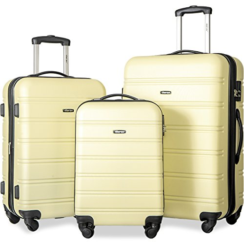 Merax Travelhouse Luggage 3 Piece Expandable Spinner Set (Yellow-More like Cream) by Merax