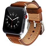 Mkeke Apple Watch Band 38mm iWatch Strap Premium Vintage Genuine Leather Replacement Watchband with Secure Metal Clasp Buckle for Apple Watch Sport Edition (Dark Brown)