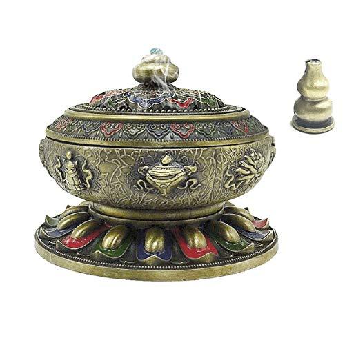 OTOFY Exquisite Tibet Buddha Eight Treasures Incense Holder Burner Home Decor Gift (Colorful Bronze)