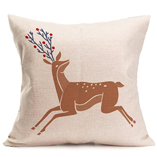 Gotd Christmas Elk Pattern Square Decorative Linen Pillowcases Throw Pillow Case Cushion Cover 18 X 18
