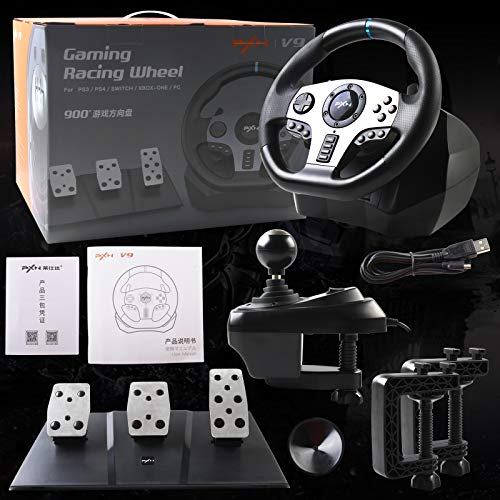 Game Racing Wheel, PXN V9 270°/900° Adjustable Racing Steering Wheel, With Clutch and Shifter, Support Vibration and Headset Function, Suitable For PC, PS3, PS4, Xbox One, Nintendo Switch.