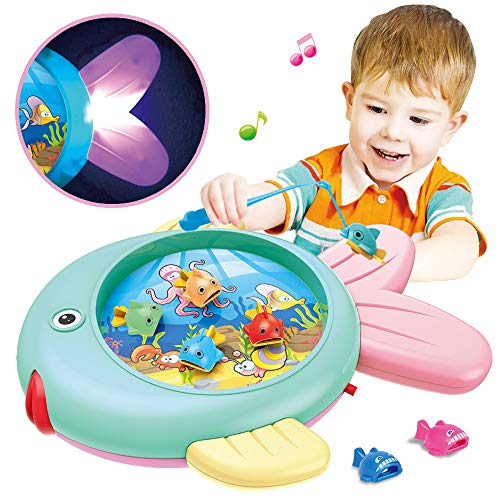 Wictoka Toy Fishing Game Fish's Splash Water Pond Swirl With Music Table Fishing Game for Toddler Kids Fishing Rods, Lights,Full-featured, Easy to Operate, Multiple -