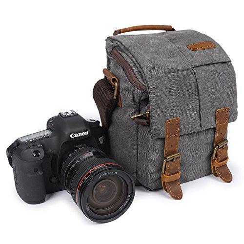 Small Leather Digital Camera Case - SAMSHOWS Vintage Waterproof Canvas Leather Trim DSLR SLR Shockproof Small Size Camera Shoulder Messenger Bag