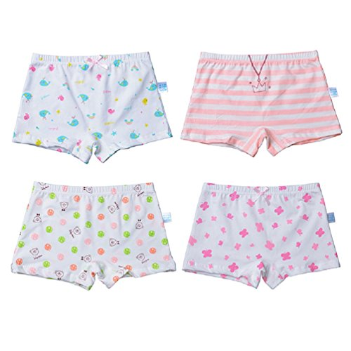 - Goodkids Little Big Girls' Organic Breathable Trim Cotton Boxer Briefs Underwear Panties (XL, 4-Pack)