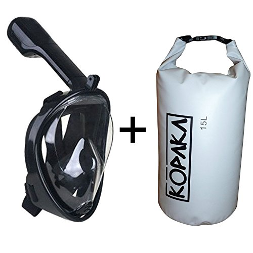 Full Face Snorkel Mask and Kopaka Waterproof Dry Bag, GoPro Compatible Multiple Sizes and Colors Available (Black Mask + White Bag, L/XL)