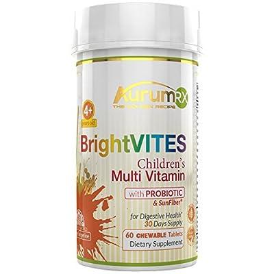 AurumRX BrightVITES Children's Multivitamin with Probiotic in 2 Daily Chewables Orange Tangerine Flavor NO Gluten NO Sugar NO Artificial Flavoring NO Dyes - Natural Vitamin B12 D3 A C E K