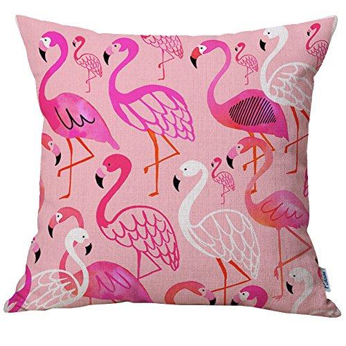 [Pidada Throw Pillow Case Covers, Retro Flamingo Pattern Cotton Blend Linen Square Decorative Cushion Pillow case Cover for Sofa Bedroom Home Decor 18x18 Pink] (Flamingo Throw)