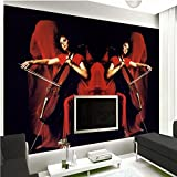 LHDLily Red Beauty Background Wall Bedroom Bathroom Mural 3D Living Room Lobby Office Wallpaper 400cmX300cm