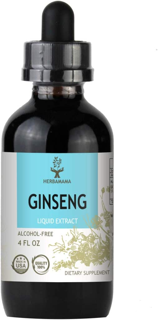 Asian Ginseng Herbal Extract Tincture 4 fl oz Organic Alcohol-Free Korean Red Ginseng Panax Ginseng Brain Function Improves Energy Mood Strengthens the Immune System Non-GMO